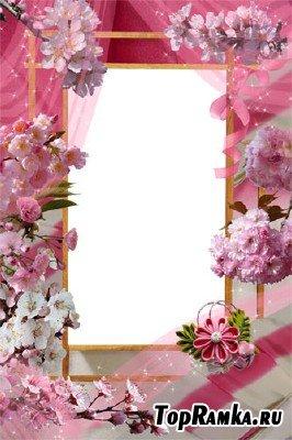 Рамка Розовые волны сакуры