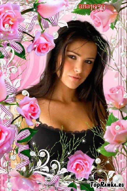 Рамка для фотошопа – Грация розовых роз
