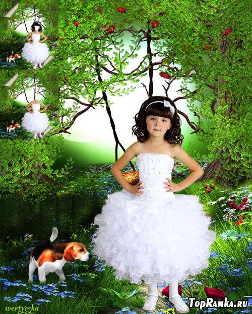 Многослойный детский psd шаблон - Девочка в белом нарядном платье с маленькой собачкой