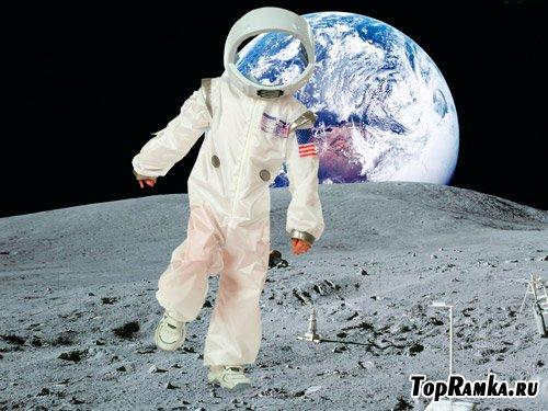 "Шаблон для фотошопа ""Маленький космонавт на Луне"""