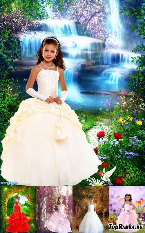 Коллекция детских шаблонов для девочек - Маленькие очаровательные принцессы в нарядных платьях