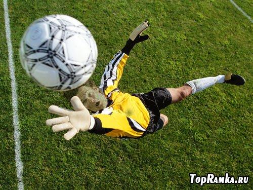 Шаблон для фотомонтажа - Футбольный вратарь в деле