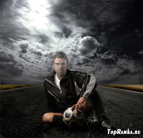 Мужской шаблон для фотошопа - футболист на дороге