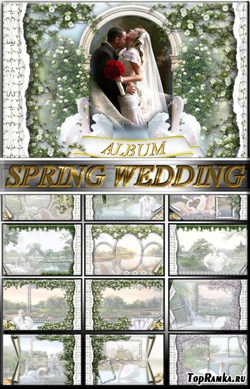 Весенний для молодых альбом для фотографий (многослойный PSD)
