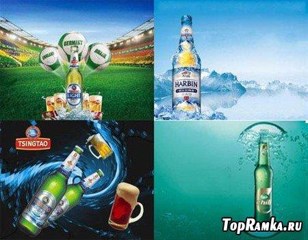 Коллекция многослойных рекламных постеров пива