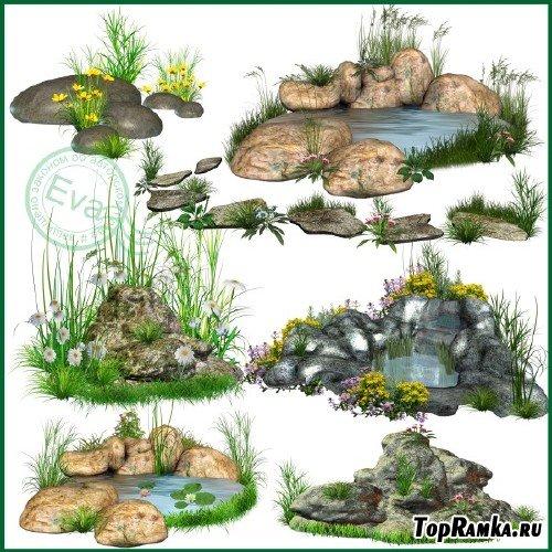 Клипарт - Цветы и камни для создания лесных фонов