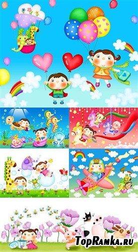 Детское счастье - многослойные PSD