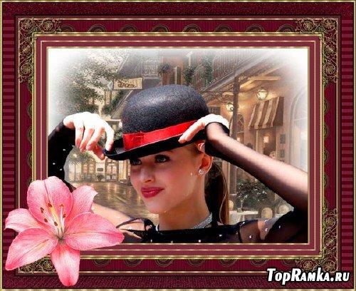 Женская рамка - Коллаж с лилией