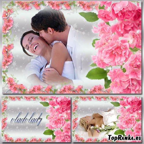 Цветочная фоторамка с розами - Весеннее настроение