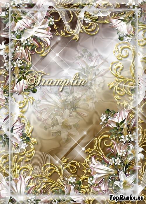 Цветочная рамка для фотошоп – Лучами звездными цветы блистают