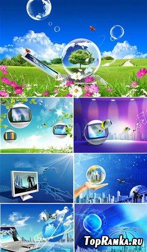 Цифровой мир - коллекция многослойных PSD
