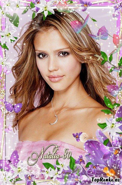 Весенняя рамочка для оформления фото - Волшебное цветение крокусов