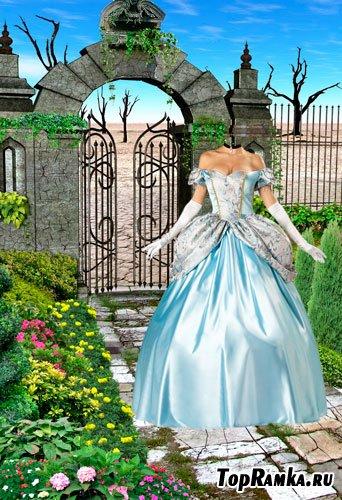 Шаблоны для фотошопа  Женщина в голубом платье