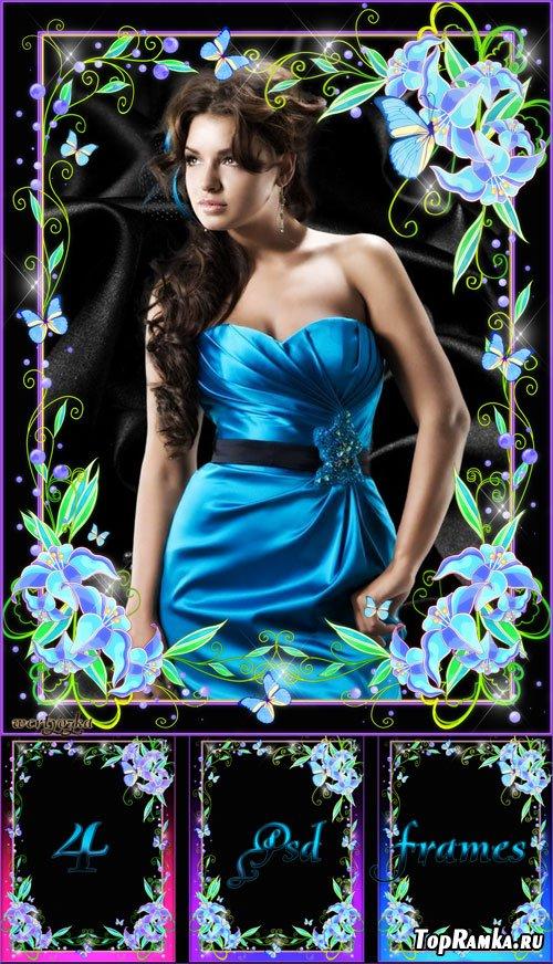 Цветочная рамка для фото - Голубые цветы расцветают под лунным сияньем