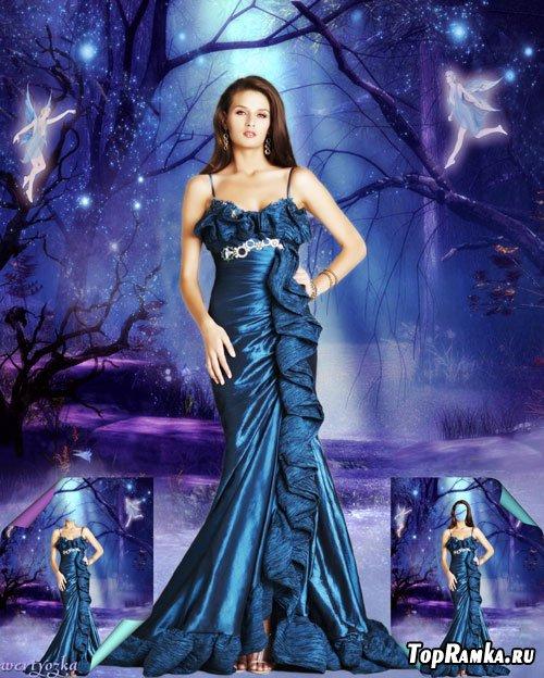 Многослойный женский шаблон  - Девушка в платье цвета сапфира в сказочном лесу среди дивных фей
