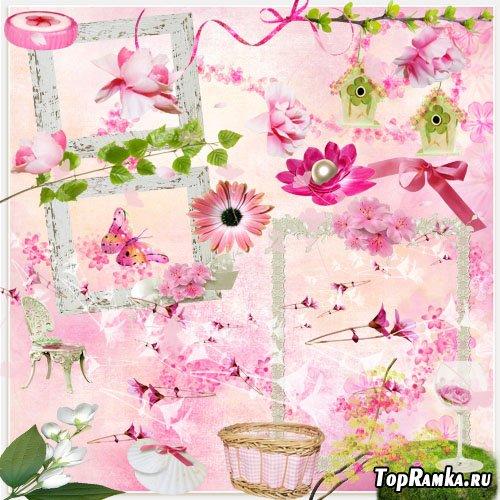 Скрап-набор - Розовое весеннее настроение