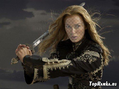 Женский шаблон для монтажа - Девушка с мечом