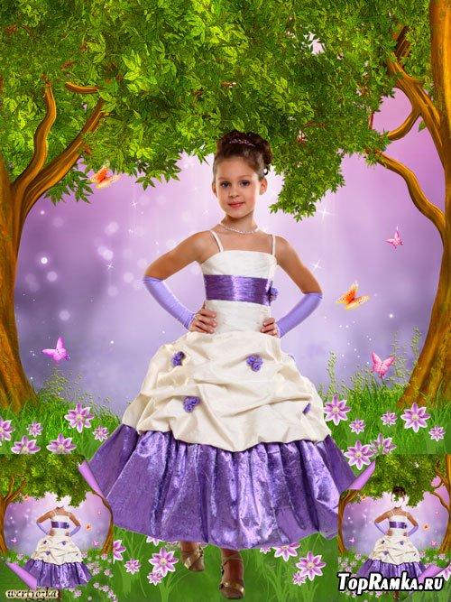 Многослойный детский psd шаблон - Девочка в нарядном платье среди чудесных цветов и бабочек
