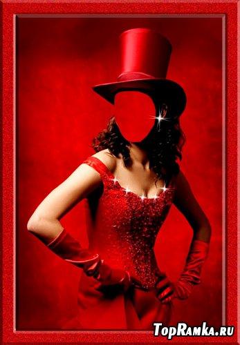 Шаблон для фотошопа – В красном цилиндре