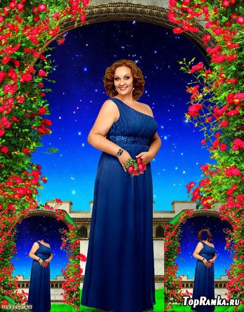 Многослойный шаблон для пышных женщин - Девушка в синем платье на фоне чудесного звездного неба
