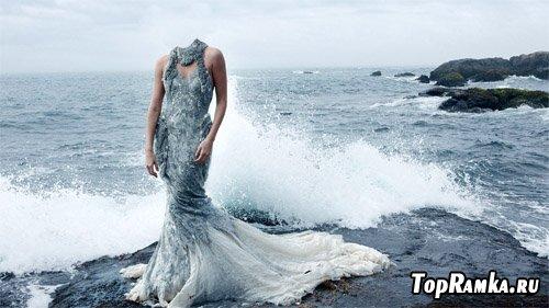 Шаблон для фотошоп - на фоне волны