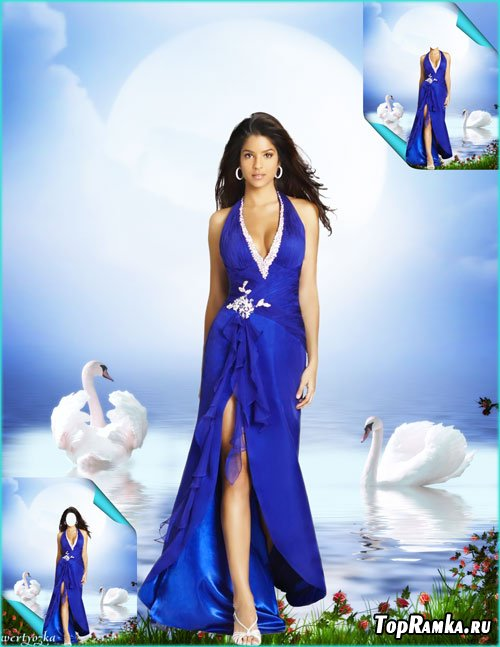 Многослойный женский psd шаблон - Девушка и прекрасные белые лебеди