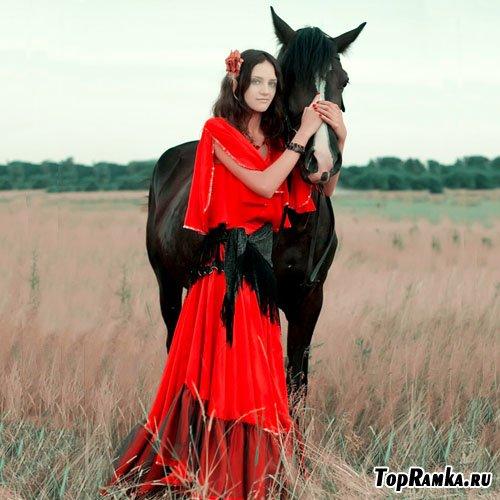 Женский шаблон для фотошоп - цыганка с лошадью