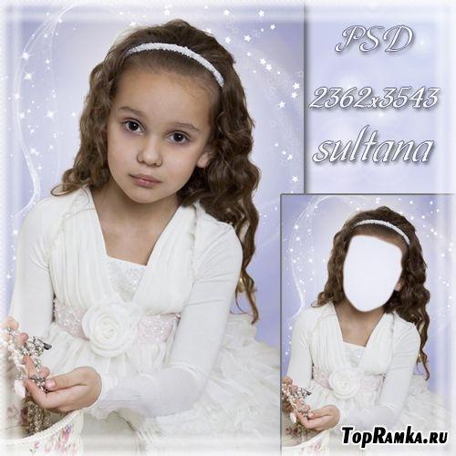 Детский шаблон для фотомонтажа - Маленькая модница