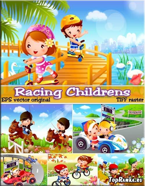 Весенние развлечения ребятишек - гонки (EPS + TIFF)