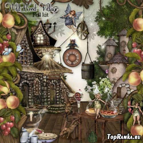 Сказочный детский скрап-набор - Деревушка в девственном лесу. Scrap - Wildwood Villa