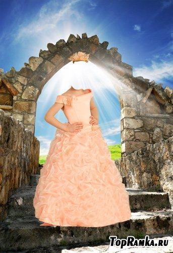 Шаблон для фотошопа – Маленькая принцесса в розовом платье