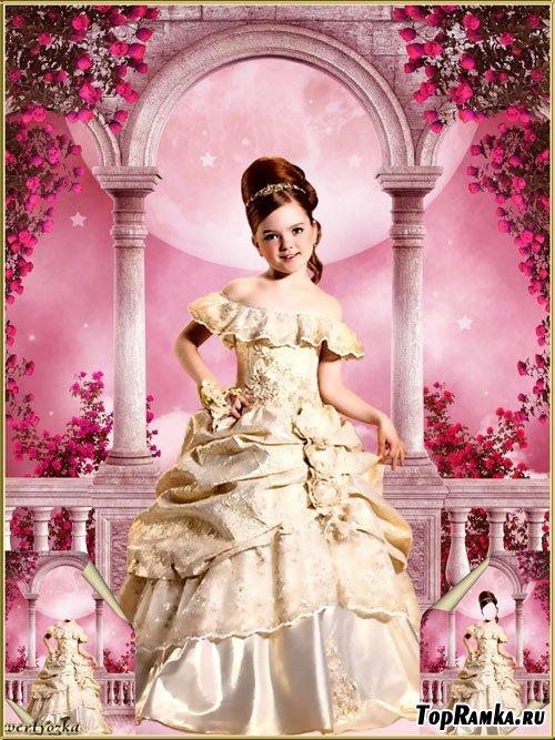 Многослойный детский psd шаблон - Маленькая принцесса на терассе среди роз вишневого цвета