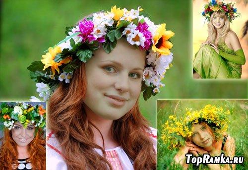 Женские шаблоны для фотошоп - весенние венки