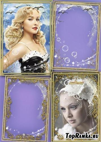 Две нежные золотые рамки для фотошопа