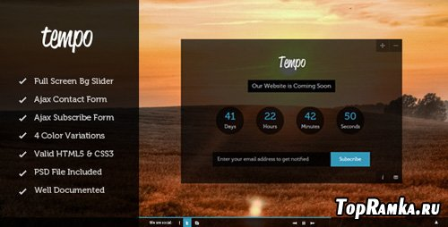 ThemeForest - Tempo - Full Screen Coming Soon Template - RIP