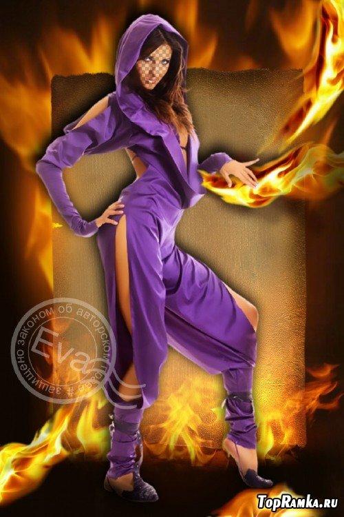 Шаблон для фотомонтажа - Девушка, играющая с огнем