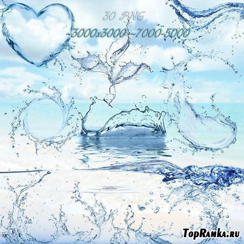 Брызги воды на прозрачном фоне