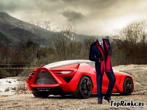 Шаблон для фотошопа – Автомобиль будущего