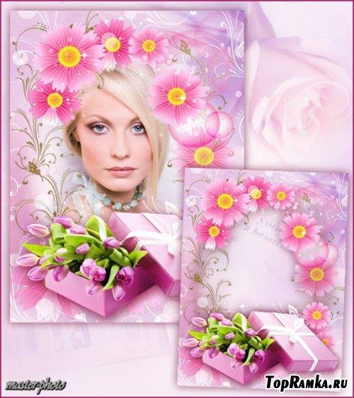 Цветочная рамка для фотошопа – Мой подарок