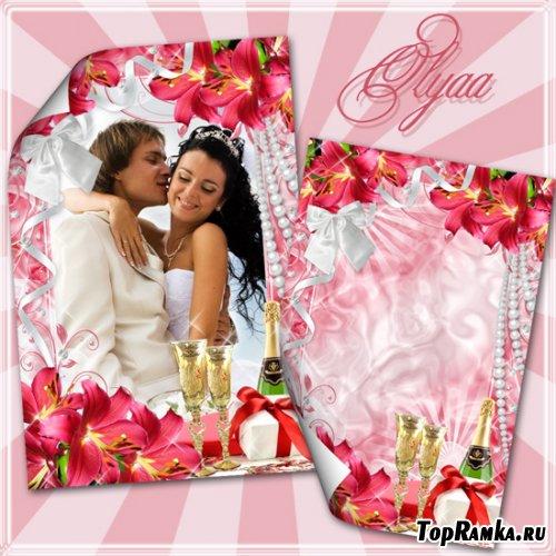 Свадебная рамка для фото с красными лилиями