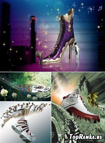 Набор рекламных исходников с обувью (многослойные PSD)