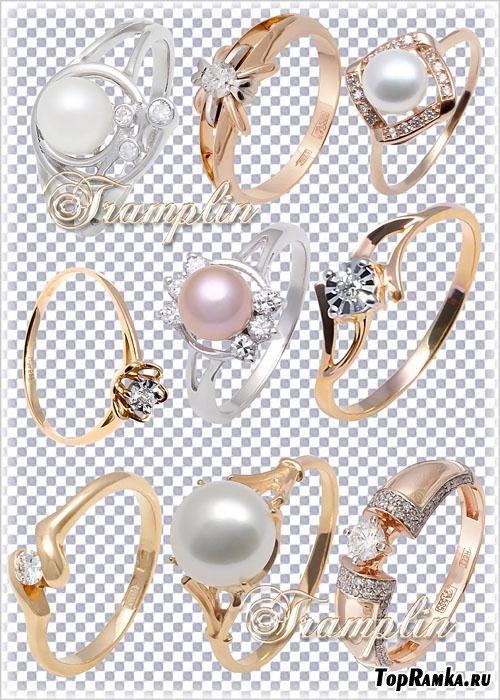 Золотые и серебряные кольца с бриллиантами и жемчугом