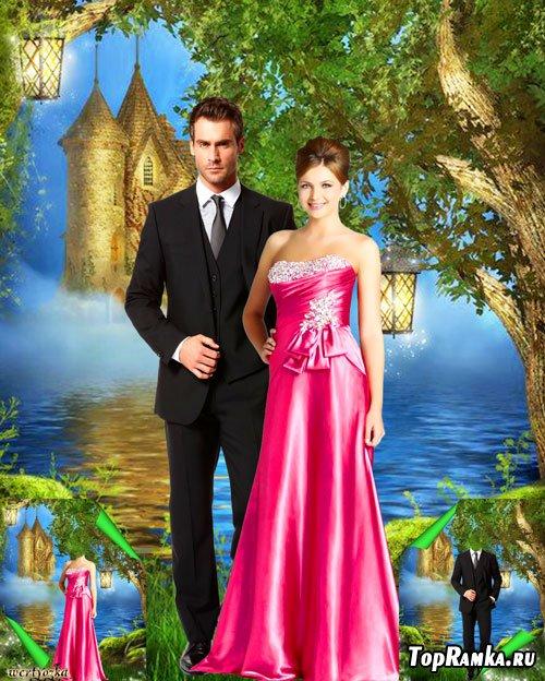 Многослойный парный psd шаблон - Романтическая пара у озера с дивным замком