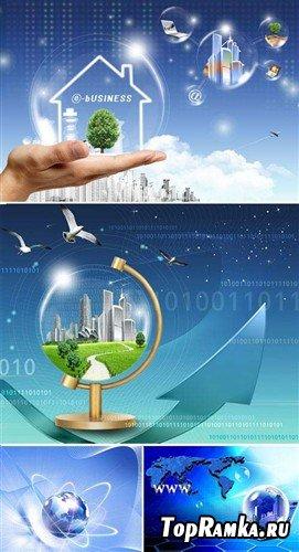 Интернет - глобализация (многослойные PSD)