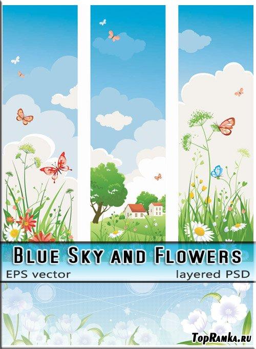 Голубое небо и облака - цветы и бабочки (вектор и растр)