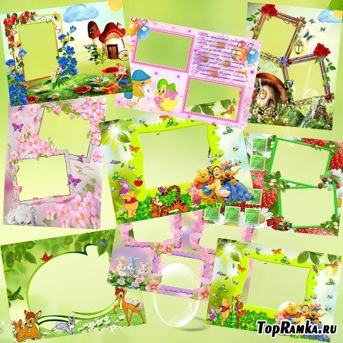 Коллекция детских фоторамок, поздравительная с Днем рождения, календарь на 2012 год