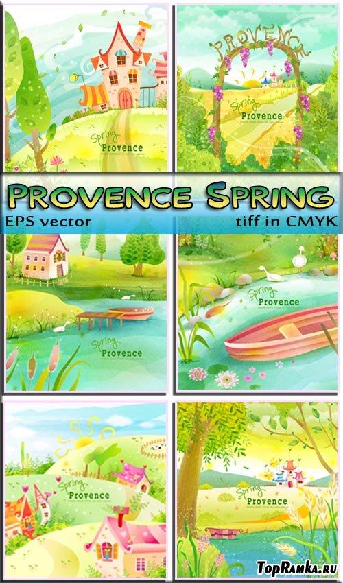 Зацвели цветы Весна в Прованс (вектор)