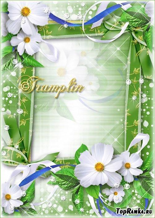 Рамка с белыми цветами - Любуюсь светлой красотой и лепестков небесной тканью