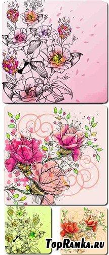 Цветочный арт - набор фонов