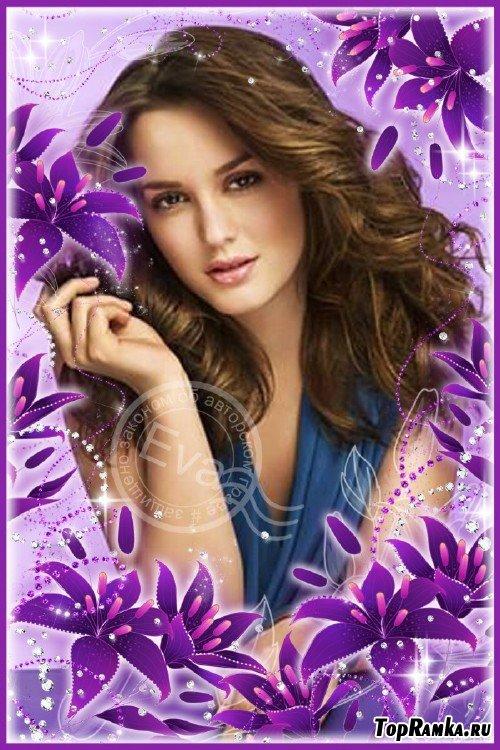 Рамка для photoshop - Красивые лиловые лилии